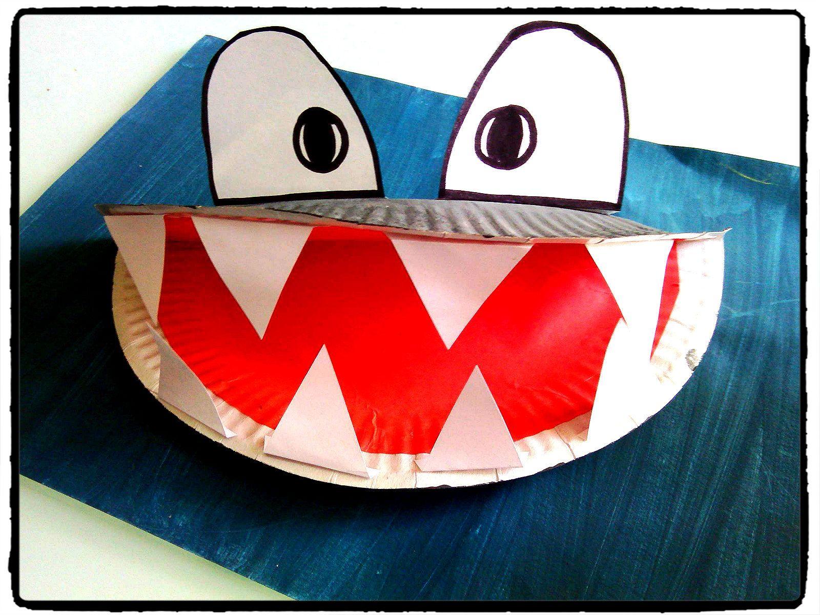 Requin animaux oc an mer bricolage enfant assiette en - Bricolage avec des assiettes en carton ...