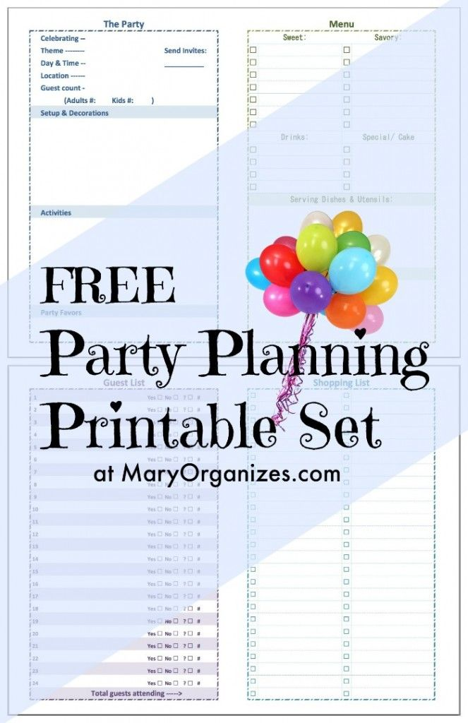 Party Planning Printable Set  Party Planning Free And Planners