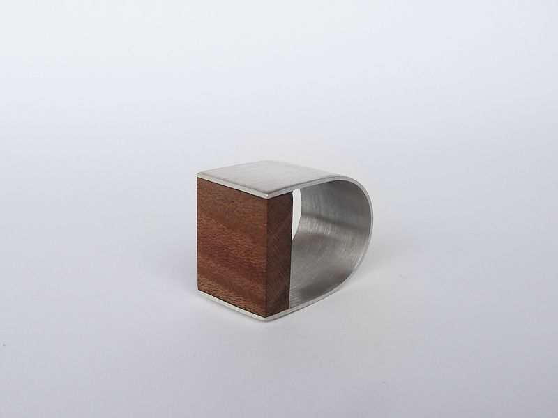 Andra Lupu - silver and wood ring