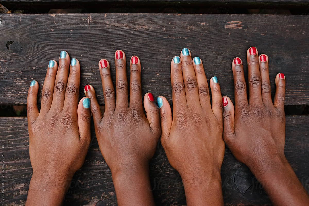 Hands of black girls, with festive USA colors painted nails. #usa #manicure  #fun #kids #pretty | 4th of july nails, July nails, 4th of july