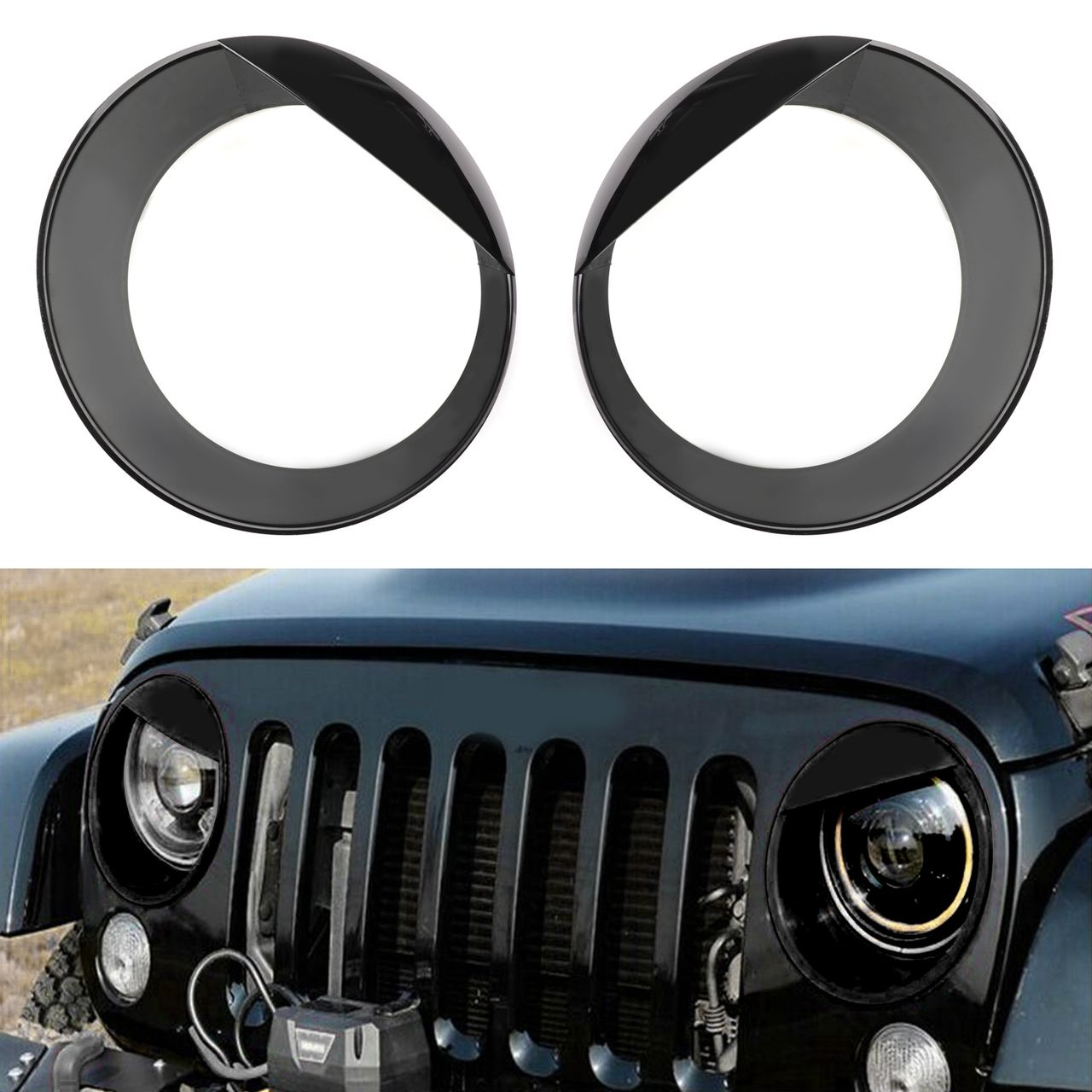 2pcs Bezels Front Light Headlight Covers Angry Eyes For Wrangler