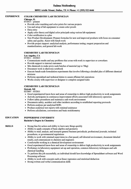 Chemistry Lab Technician Resume Unique Chemistry Lab Technician Resume Job Resume Template Chemistry Labs Resume