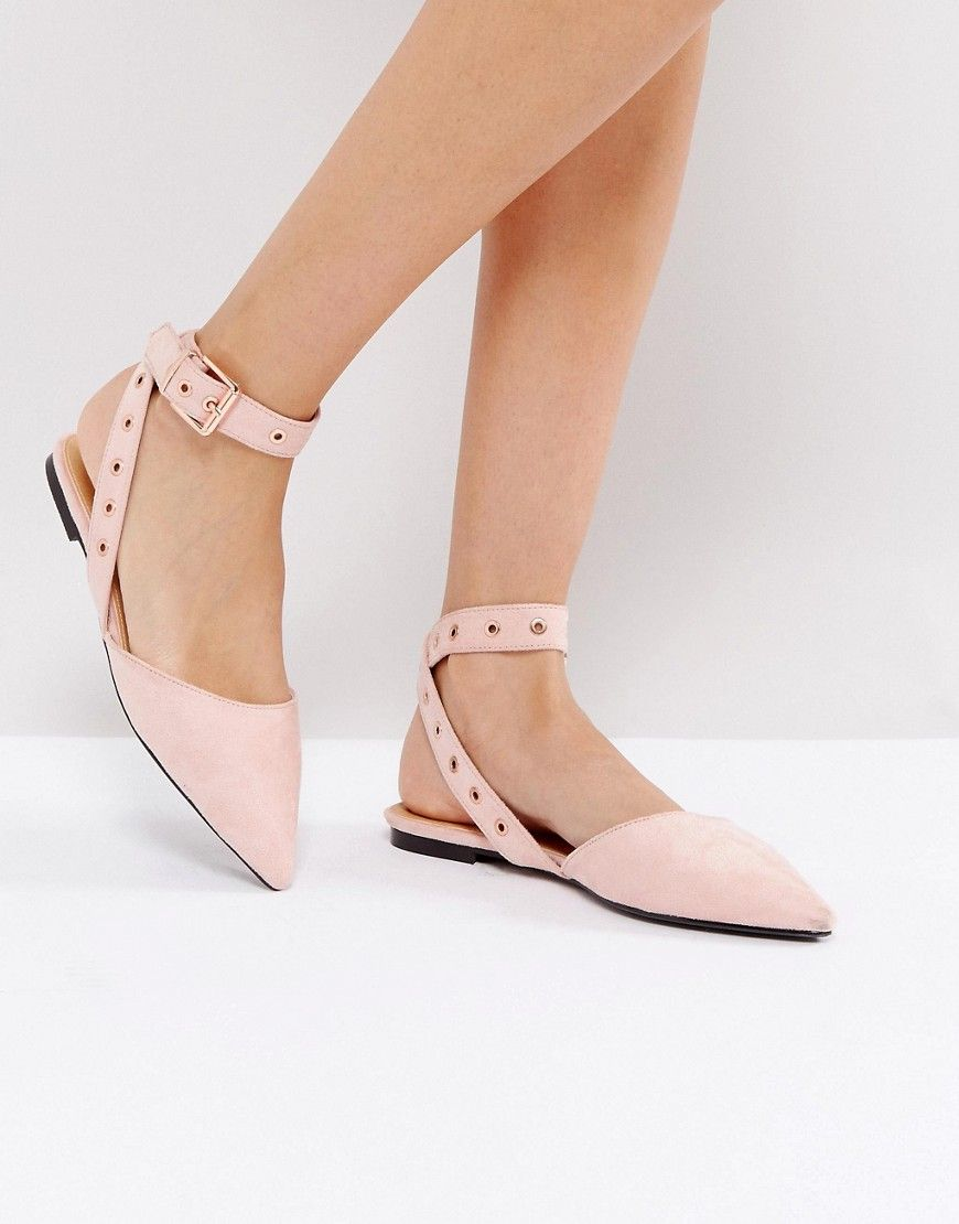 RAID Lorrie Pink Wrapped Ankle Strap Flat Shoes - Beige  1f775a96438