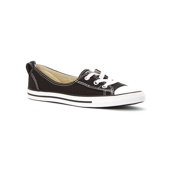 Converse Chuck Taylor Ballet Lace Sneaker Sneakers & Athletic Shoes ($50) ❤ liked on Polyvore featuring shoes, sneakers, black, ballet shoes, ballet flat shoes, canvas sneakers, black flat shoes and flat shoes