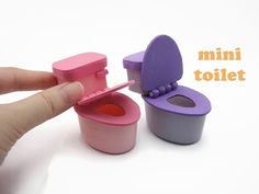 DIY Miniature Doll Mini Toilet Bathroom - With working cover! Easy! #miniaturedolls