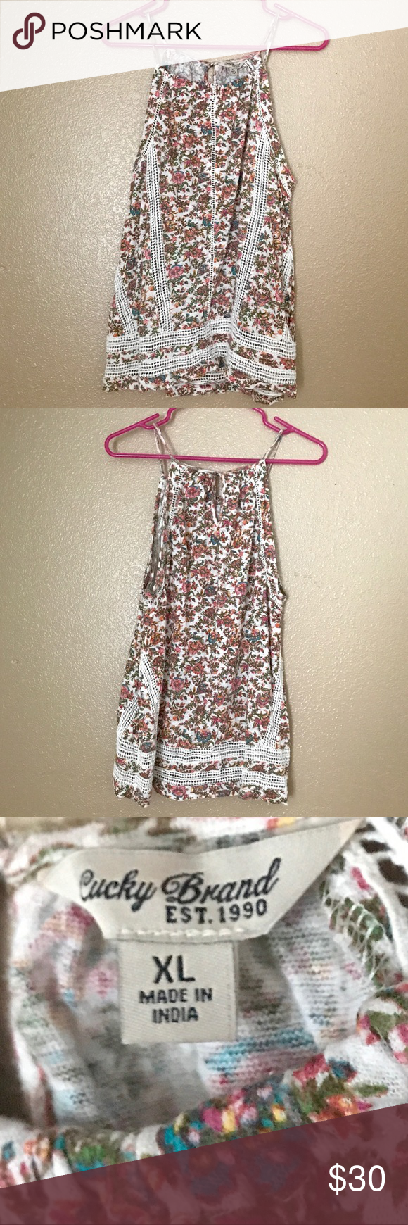 """Lucky Brand Flower Print Embroidered Lace Tank Gently worn. Juniors XL. About 27"""" in length. It can be seen in a little indie flick... called Color Me Done. ***NEW TO POSHMARK: sign up using code UZSBE to get $5 off your first order. 🙂 Lucky Brand Tops Tank Tops"""