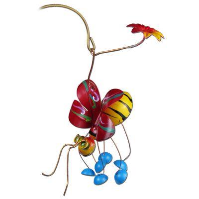 Honeybee Garden Ornament on a Stake Juana Pena  metal-garden-art.com