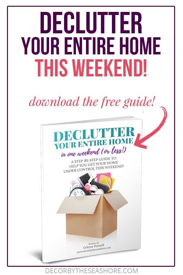 Free Decluttering Guide Declutter Your Entire Home in ONE Weekend! is part of Declutter, Organize declutter, Declutter your home, Organizing your home, Declutter your mind, Clutter solutions - Did you know that getting rid of the clutter in your home could eliminate up to 40% of the housework  Your time is far too valuable to keep wasting it on clutter! This FREE decluttering guide will help you declutter your entire home in ONE WEEKEND!