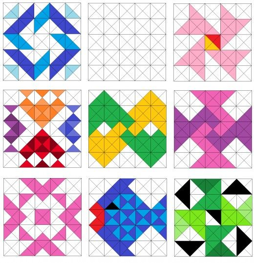 Quilting Grid Patterns : Fish and pinwheel quilt blocks. Sampler Quilts Pinterest Half square triangles, Triangles ...
