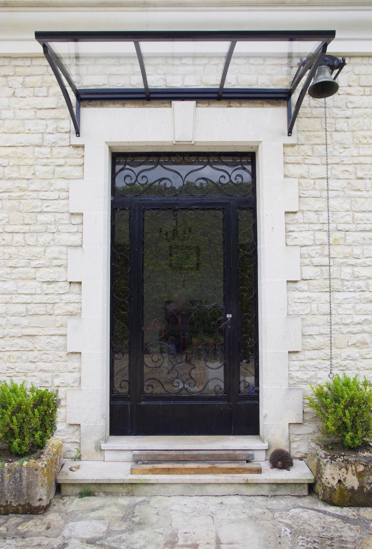 Porche D Entrée Maison Contemporaine marquise aluminium sur mesure, marquise polycarbonate