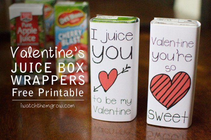 Free printable Valentine juice box wrappers