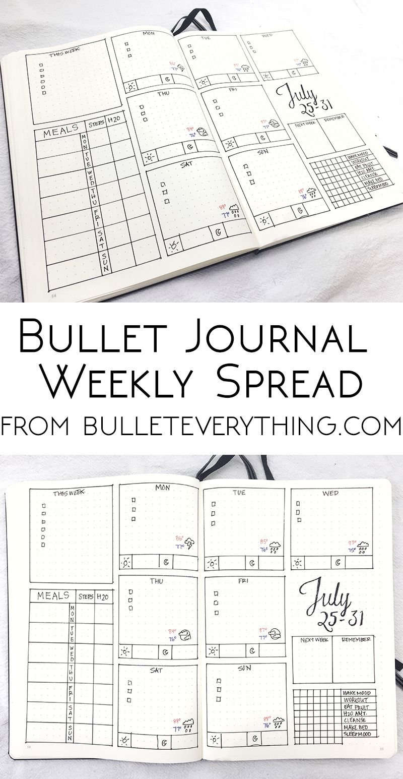 Easy Bullet Journal Weekly Spread Printable with