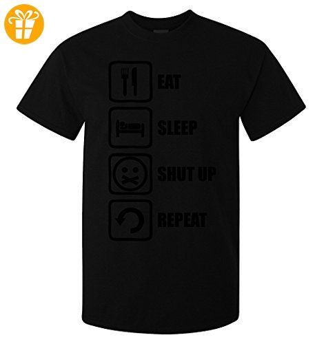 Eat Sleep Shut Up Repeat Funny Black Graphic Men's T-Shirt X-Large (*Partner-Link)