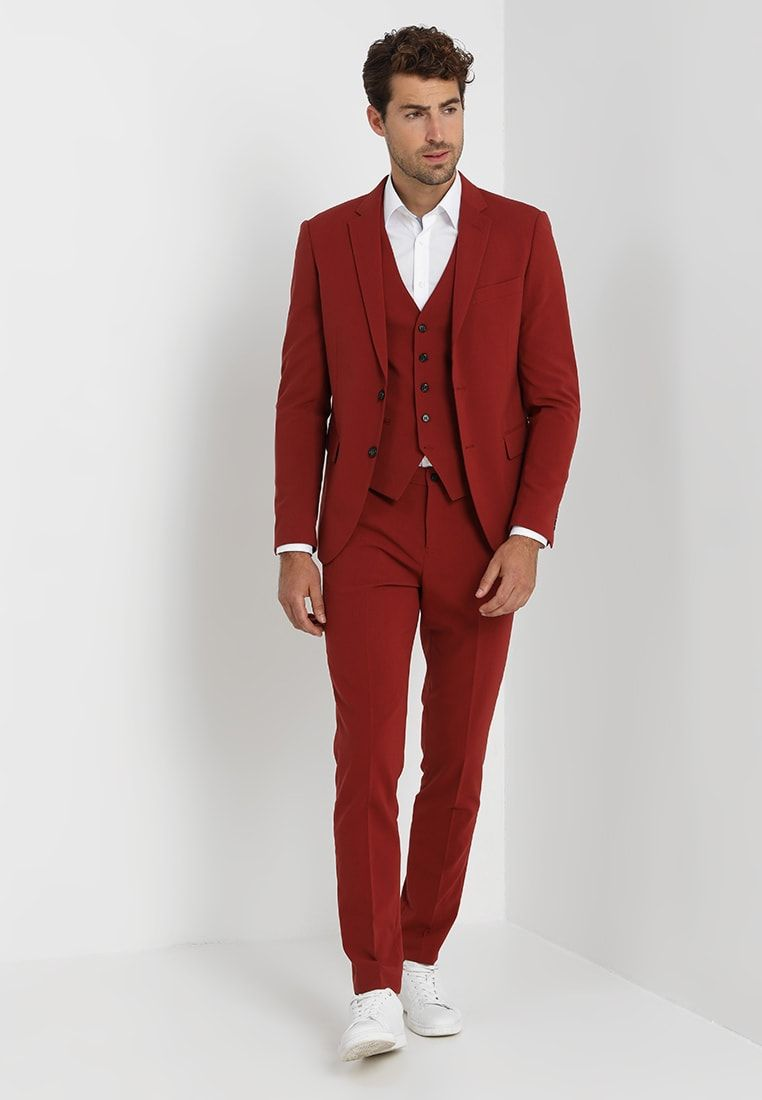 Lindbergh Plain Mens Suit Slim Fit Garnitur Dark Red Zalando Pl Mens Suits Dark Red Suit Mens Fashion Suits