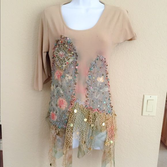 ONE OF A KIND You will never see another NWOT NOTE *** the different sleeves and all varied pieces to this top and the coloring.. It is new, the different coloring is how it was originally made. Tops Tunics