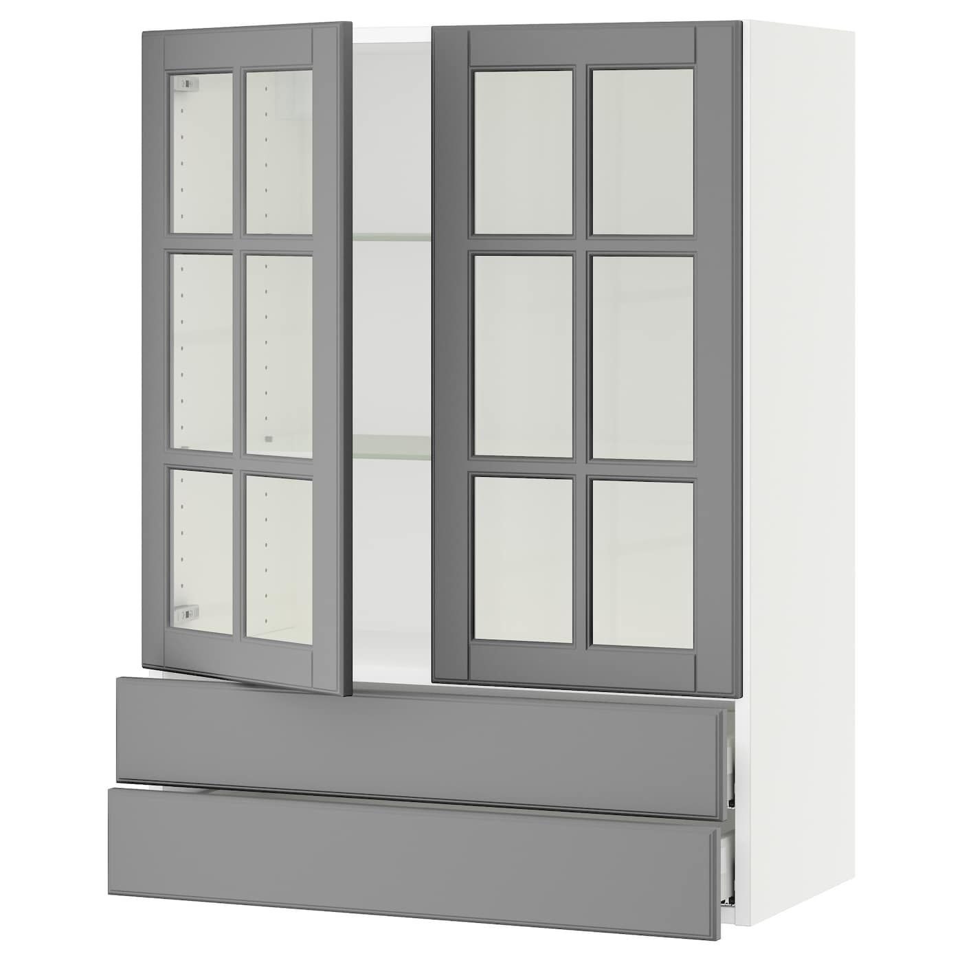 Ikea Sektion White Wall Cabinet 2 Glass Doors 2drawers Frame Colour Glass Door Ikea Ikea Kitchen Design