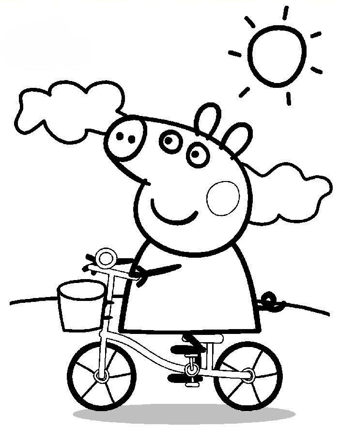 Peppa Pig riding a bike Peppa pig coloring pages Peppa pig colouring Coloring pages