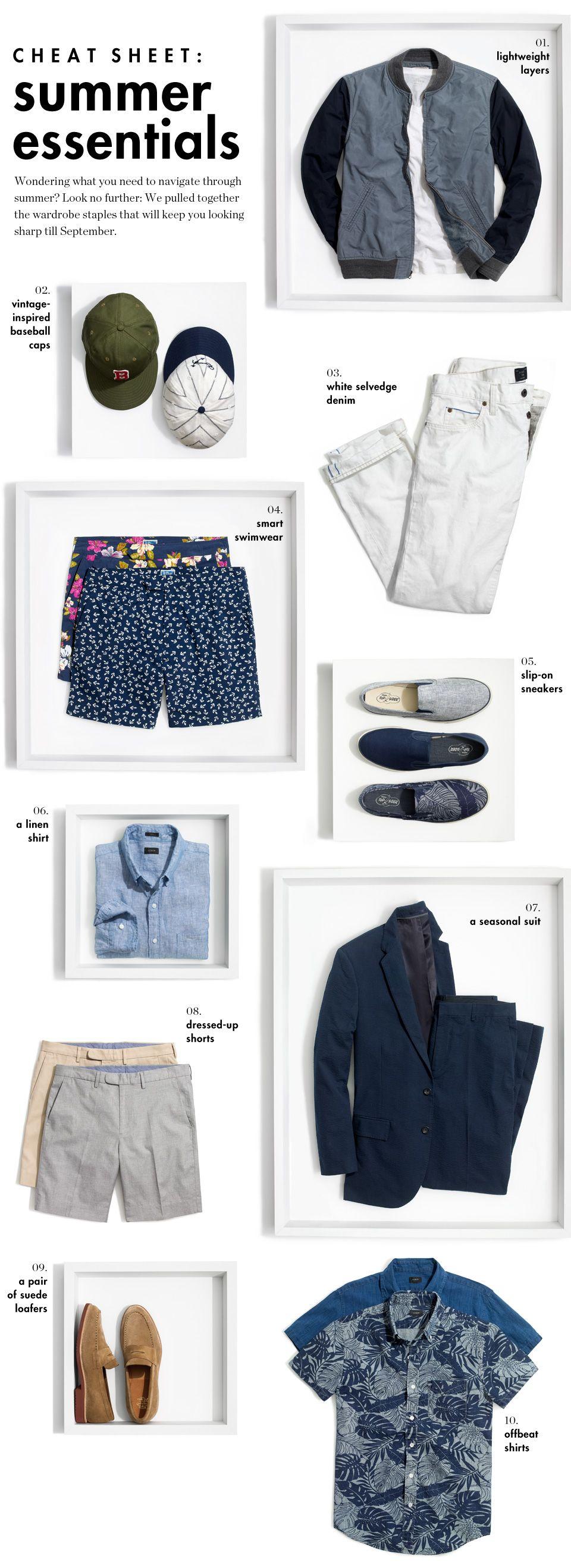 J Crew Men s Clothing Cheat Sheet Summer Essentials