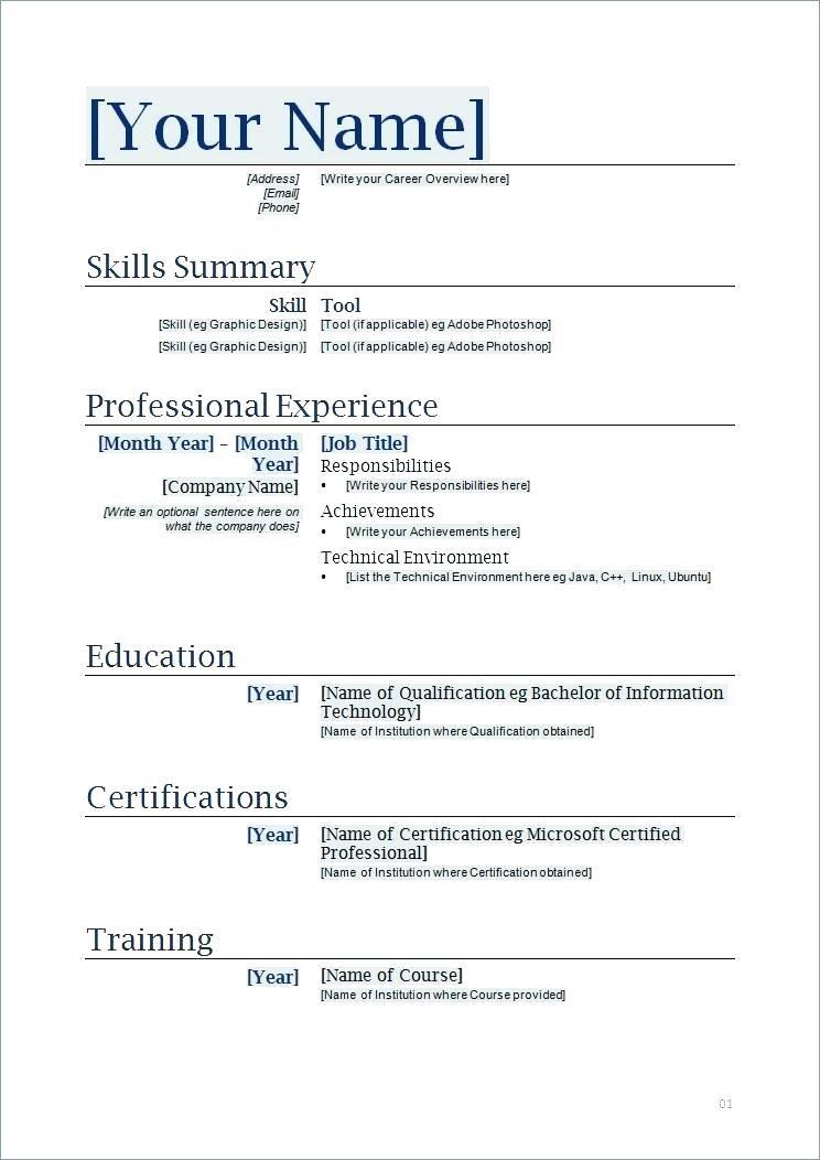 Resume Doc Template Resume Doc Template Templates New Format