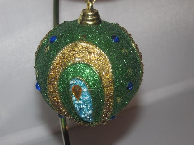 New Trimmerry Green Glitter Peacock Ball Christmas Ornament NWT - peacock christmas decorations
