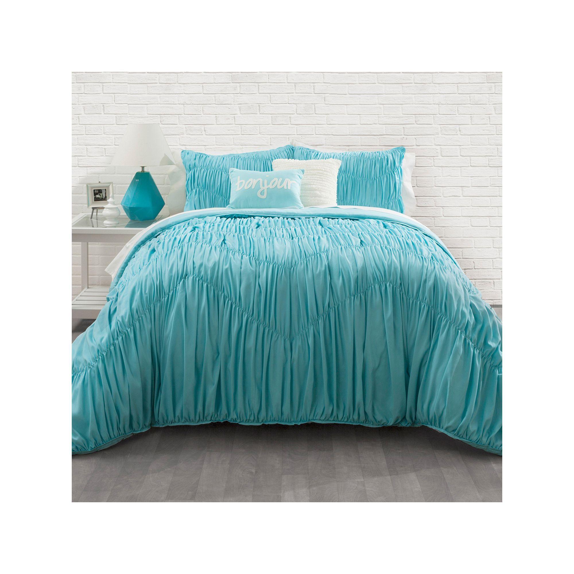 seventeen aqua rouched chevron comforter set, blue | chevron