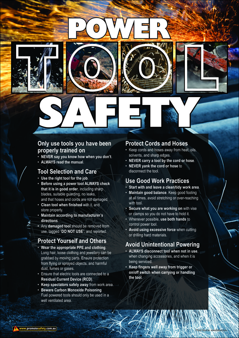 Workplace safety posters - Workplace Safety Poster Highlighting The Danger And Precautions For Power Tools A3 Size Safety Poster