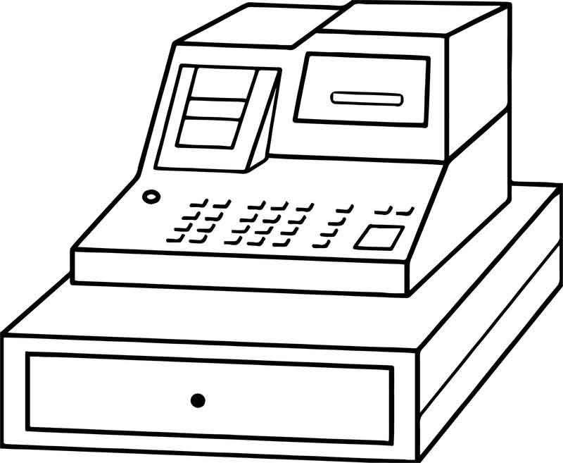 Cash Register Money Coloring Page Coloring Pages Cash Register Free Coloring Pages