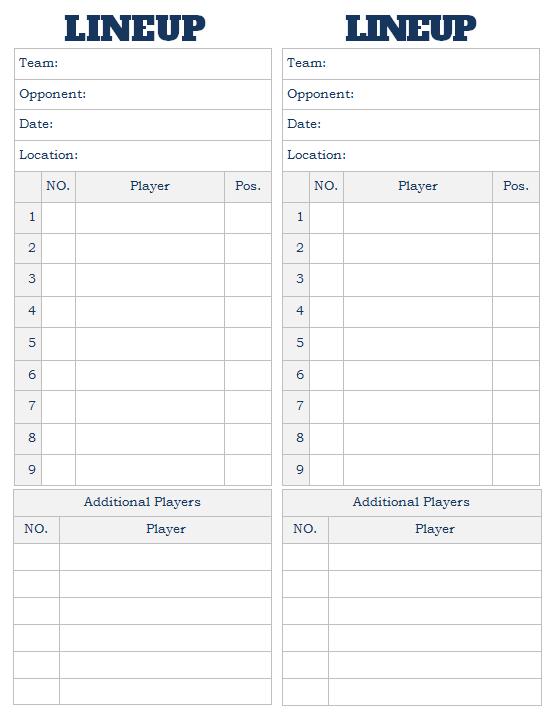 Softball Lineup Card 2 Per Sheet Baseball Lineup Baseball Card Template Card Template