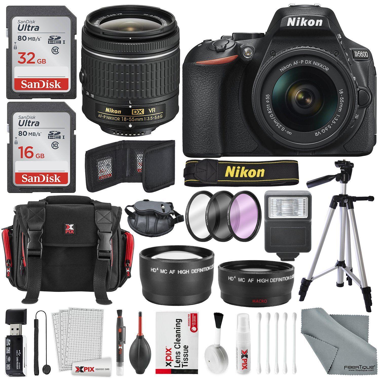 Jual Murah Kit Nikon 18 55mm Update 2018 D5600 Af P Vr Paket Dslr Camera And Lens W Total Of 48 Gb Memory Card