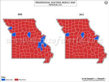 Missouri Election Results Map 2008 Vs 2012 | USA President\'s ...