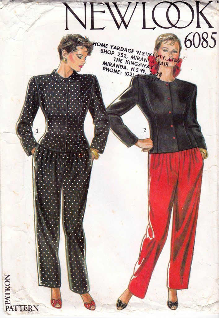 e89f3c0cceab4 80s Jacket Top and Pants Pattern New Look 6085 Sizes 8 - 18 UNCUT Factory  Folded