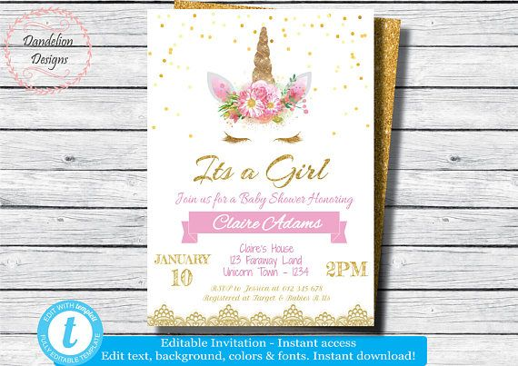 Unicorn Baby Shower Invitation Unicorn Party It S A Girl Unicorn