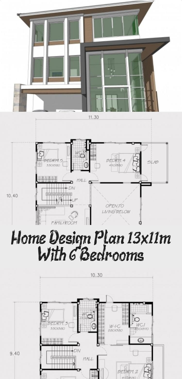 Home Design Plan 13x11m With 6 Bedrooms Home Design With Plansearch Simplemodernhousedesign Modernhousede In 2020 Home Design Plan House Design Modern House Design