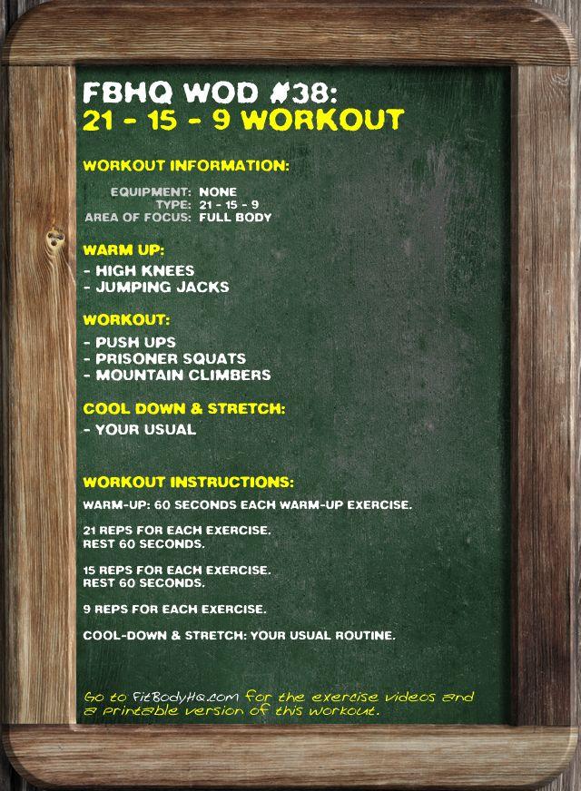 Fbhq Wod 38 21 15 9 Workout Fitbodyhq Workout Instructions Wod Workout
