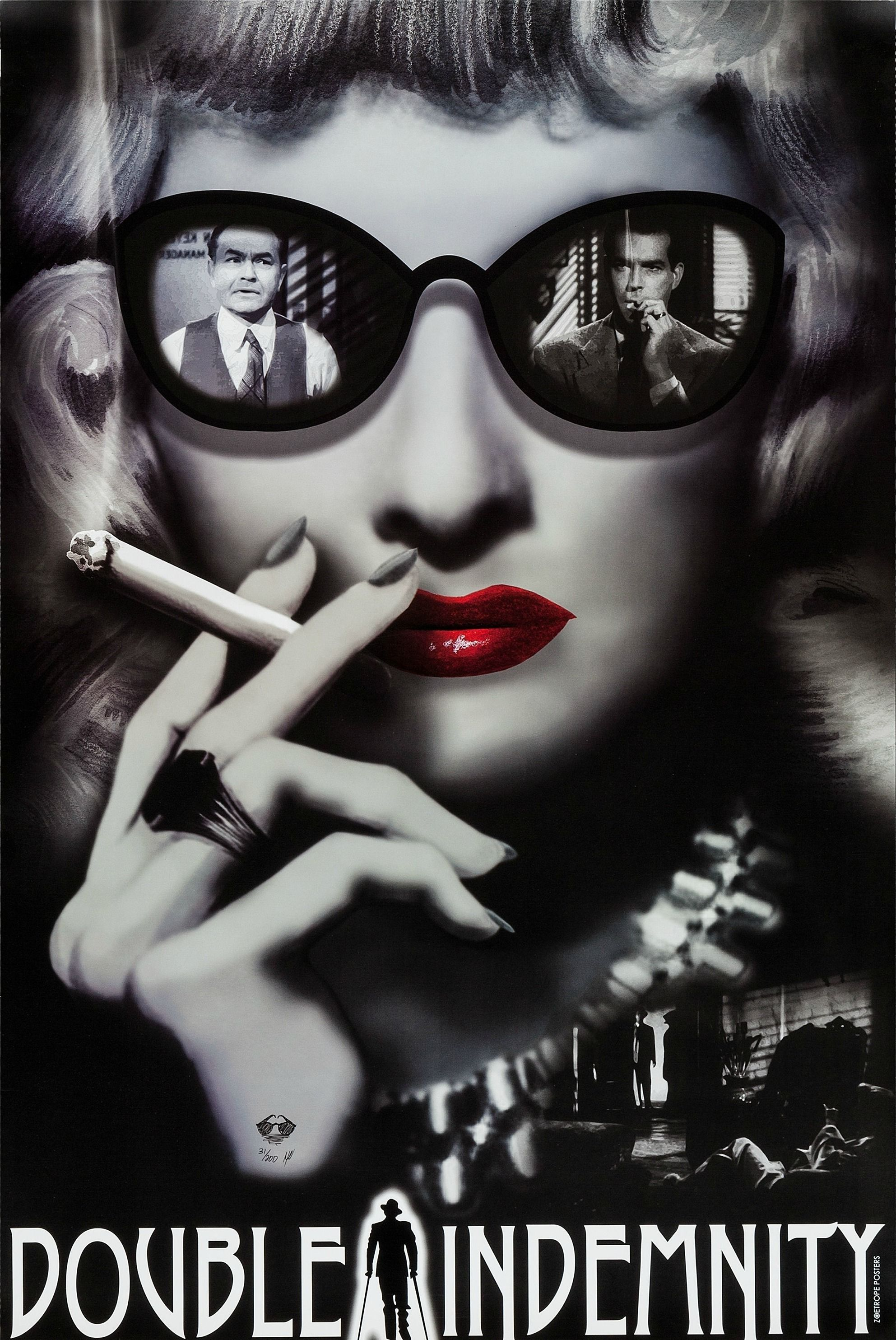 film noir in the maltese falcon and double indemnity Film noir style: the maltese falcon (1941) by film noir buff a life long interest with old movies the cast of villains who never say what they mean and festoon the drama with enough double crosses to dizzy the casual observer.