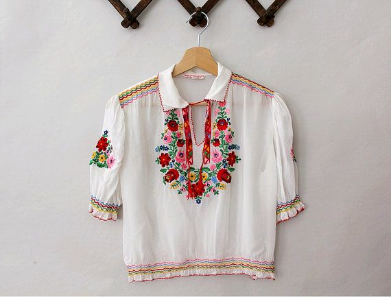 Vintage 1970s Hungarian red embroidered long sleeve blouse