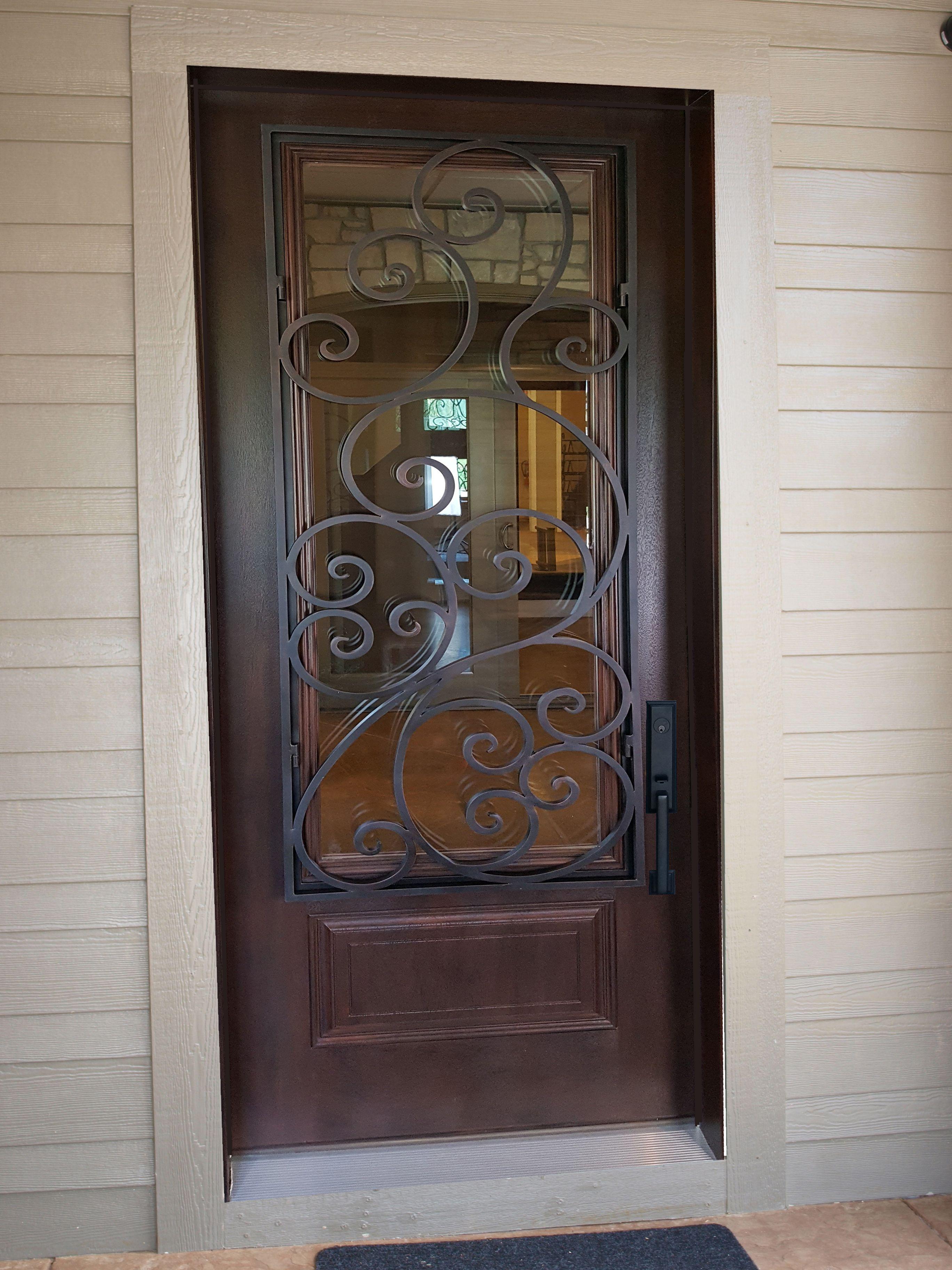 Entry doors with rectangular transoms 6 8 quot prehung - Santa Cruz Series Fiberglass Door With Aluminum Scroll Panel From Midwest Iron Doors