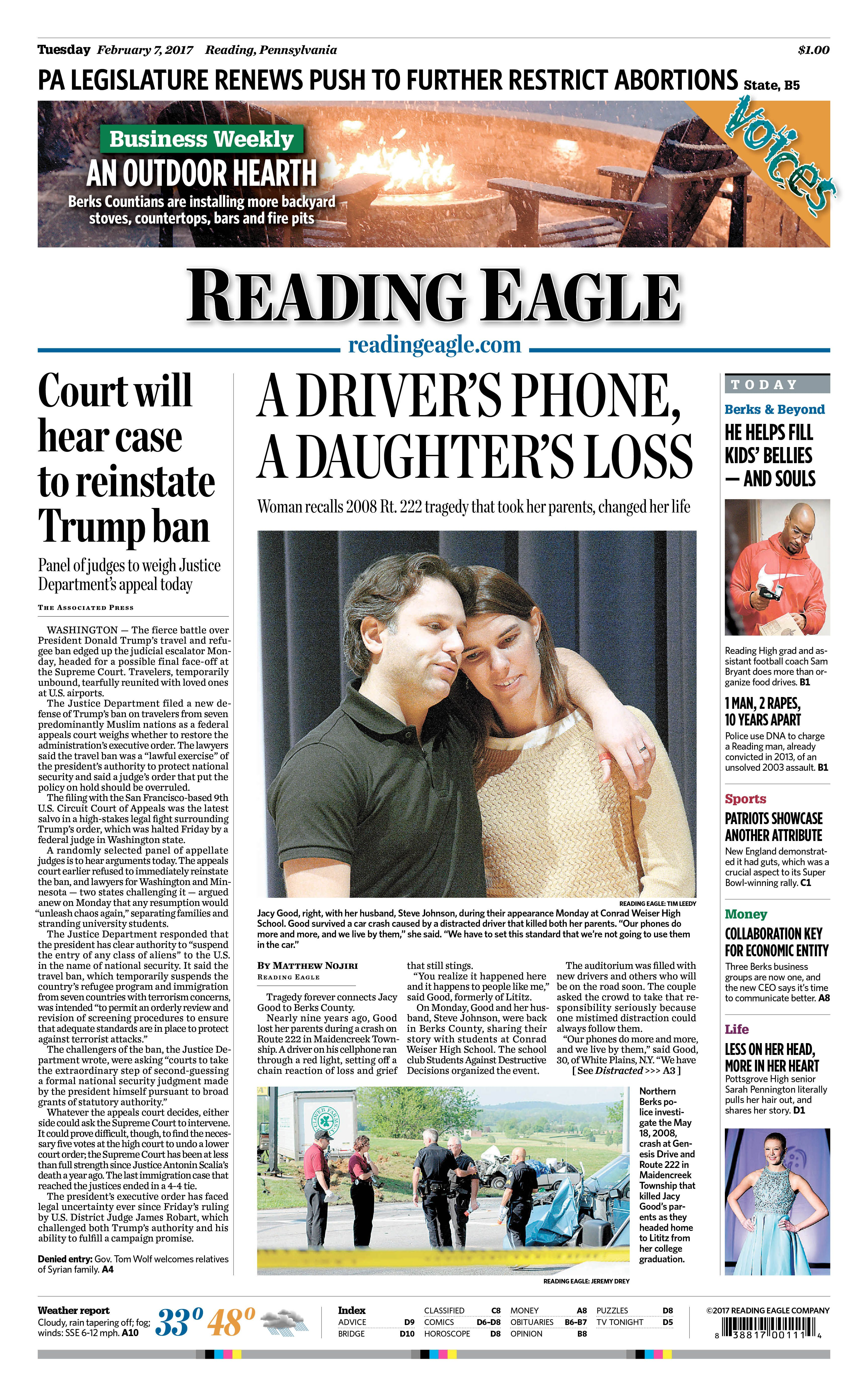 Today's front page. Feb. 7, 2017.
