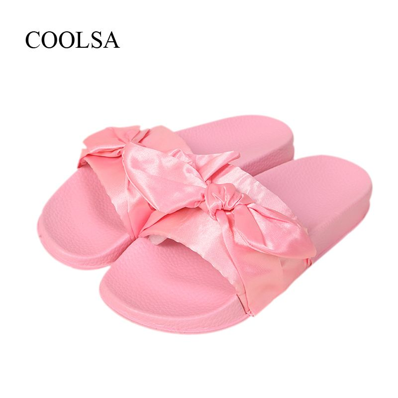 COOLSA Brand Silk Bow Slides Women Summer Beach Shoes Woman No Fur Slippers  Flat Heels Flip 8a9004777