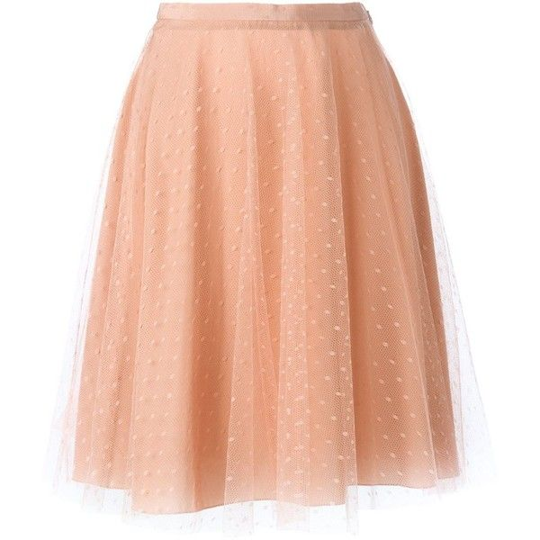 Red Valentino Tulle Flared Skirt (1.070 BRL) ❤ liked on Polyvore featuring skirts, red valentino, pink skater skirt, pink tulle skirt, skater skirt and pink skirt