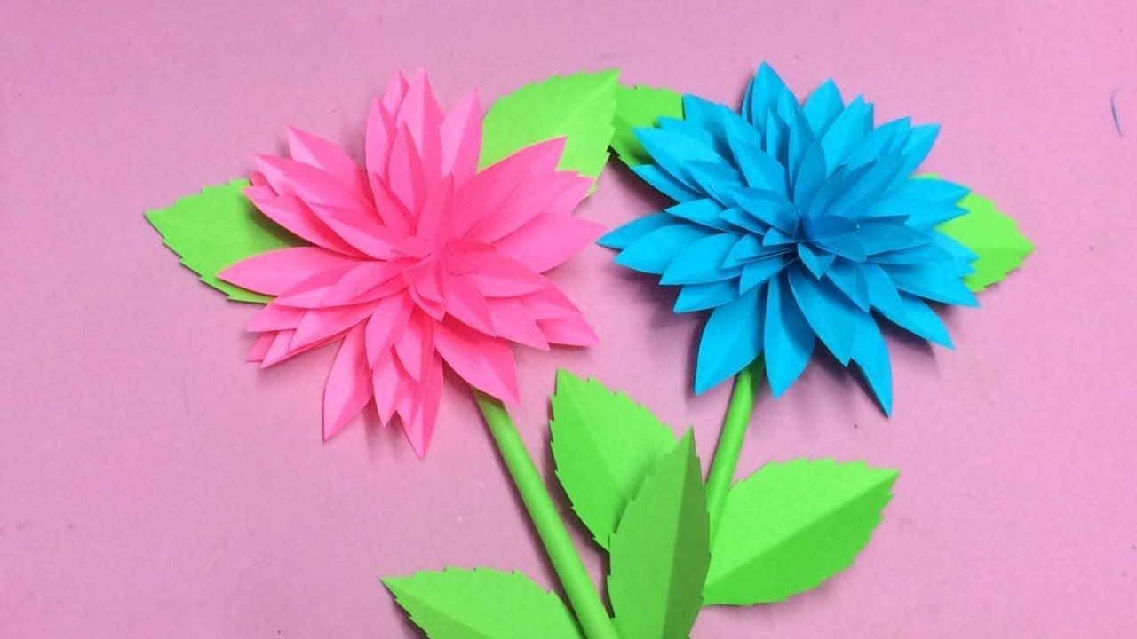 How To Make Dahlia Flower With Paper Making Paper Flowers Step By