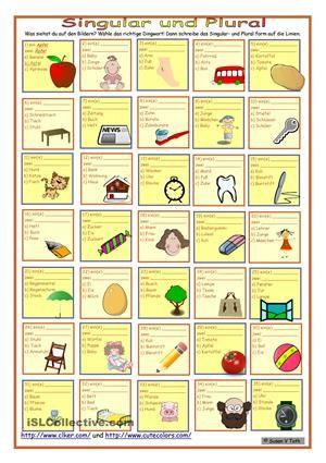 Singular und Plural | němčina | Pinterest | Worksheets