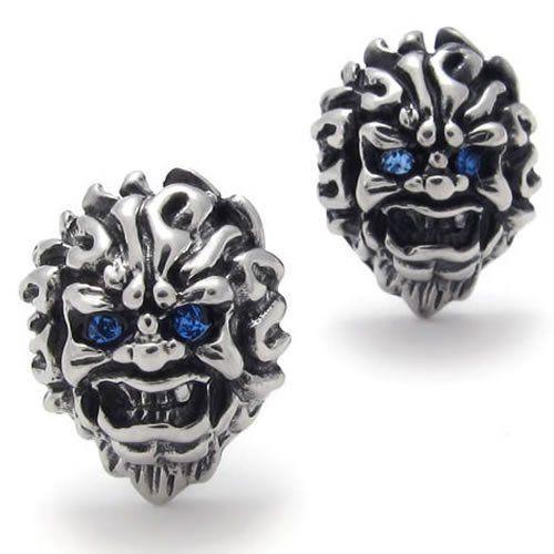 Konov Jewelry Men S Vintage Stainless Steel Skull Stud Earrings For Set 2pcs Color
