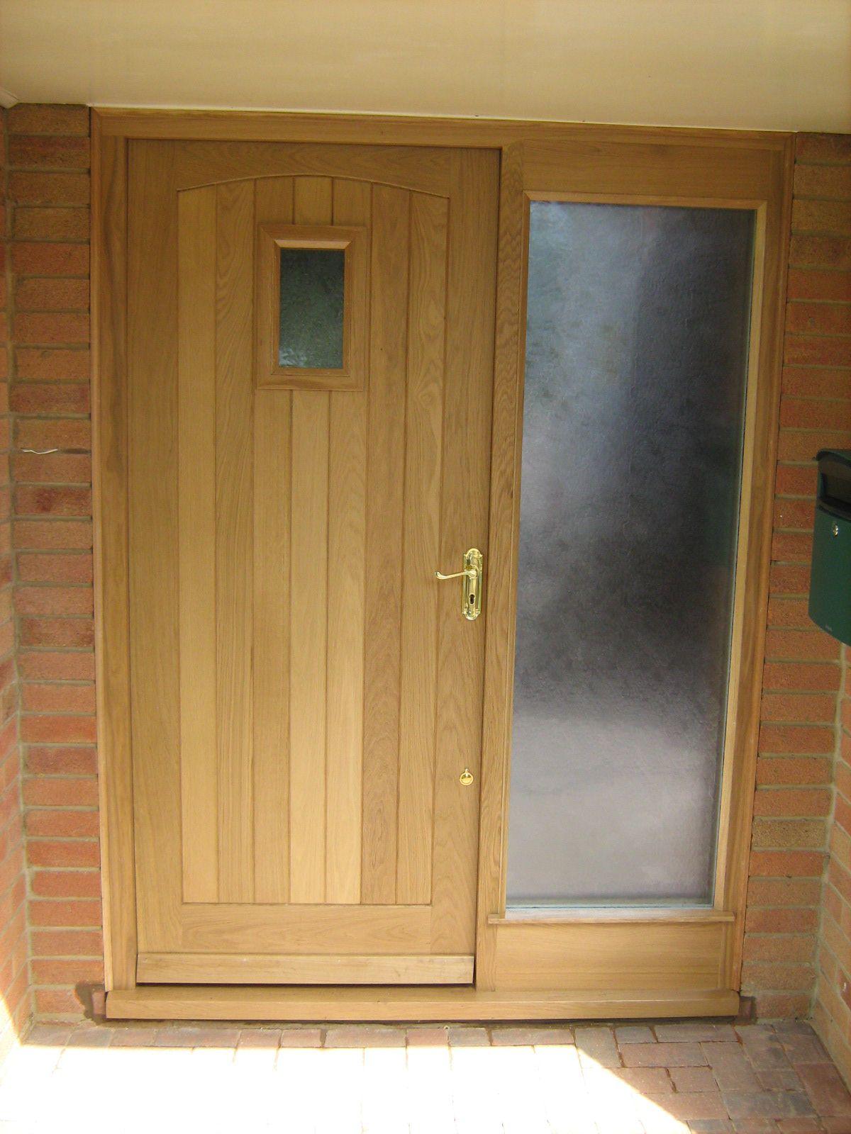 Oak front door by Merrin Joinery For brass door handle try Priors