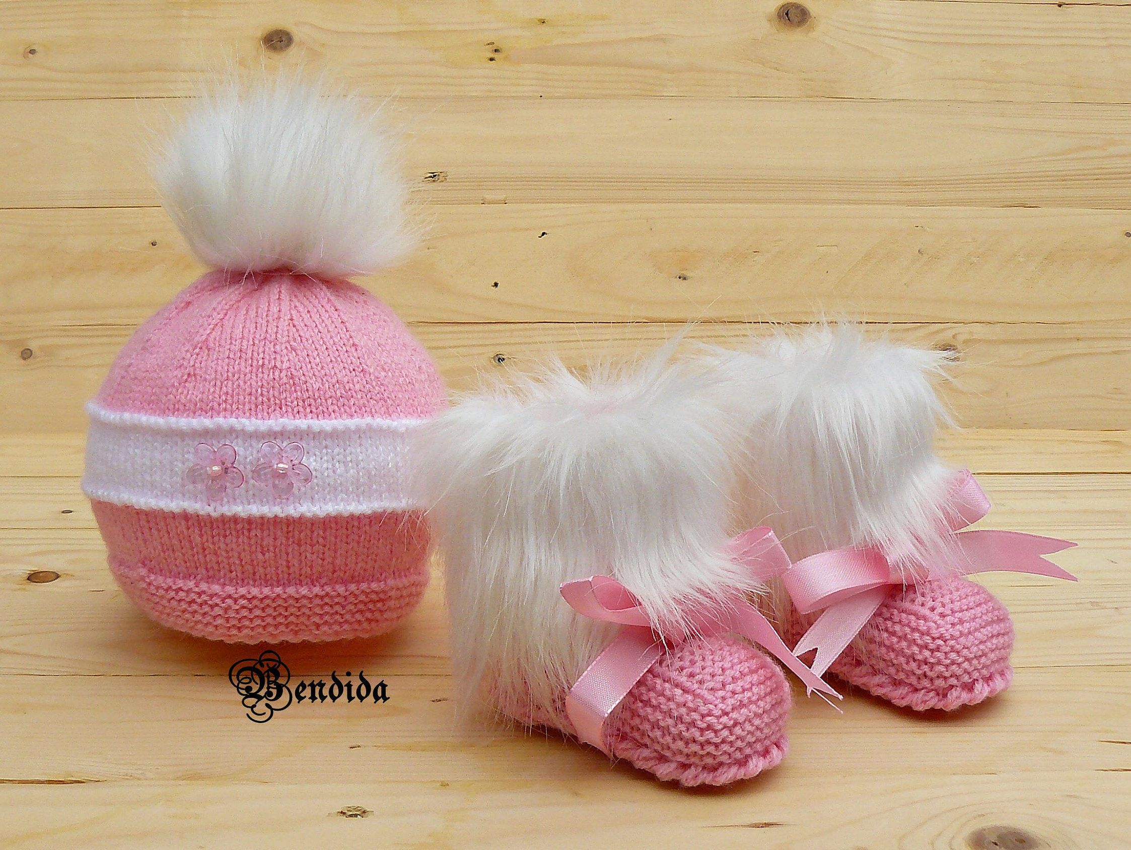8e43045ba0f Baby Girl Pink Hat with Faux Fur Pom pom and Booties Set
