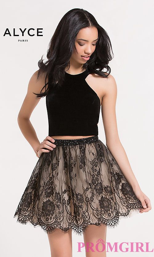 3537d519c8 Two-Piece Short Velvet and Lace Dress