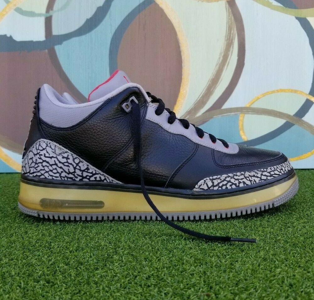Nike Air Jordan Fusion 3 Af1 Black Cement 323626 061 Sneakers Us Size 13 Nike Basketballshoes In 2020 Air Jordans Black Cement Nike Air Jordan