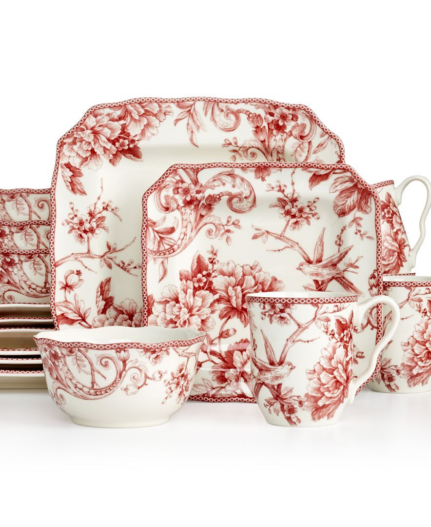 222 Fifth Adelaide Red Square 16-Pc. Set, Service for 4 | Table ...