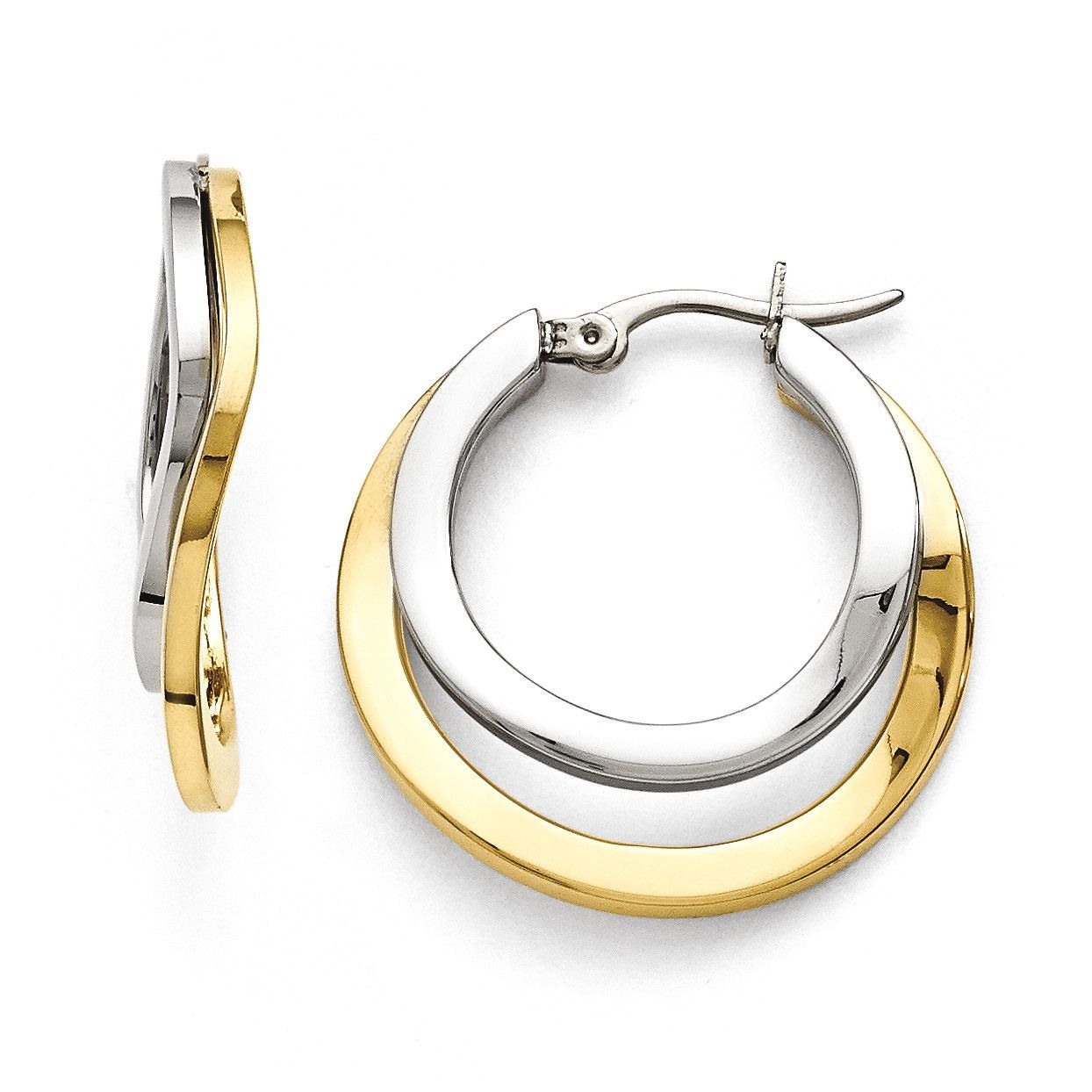 Stainless Steel Polished Yellow IP-plated 30mm Hoop Earrings SRE822
