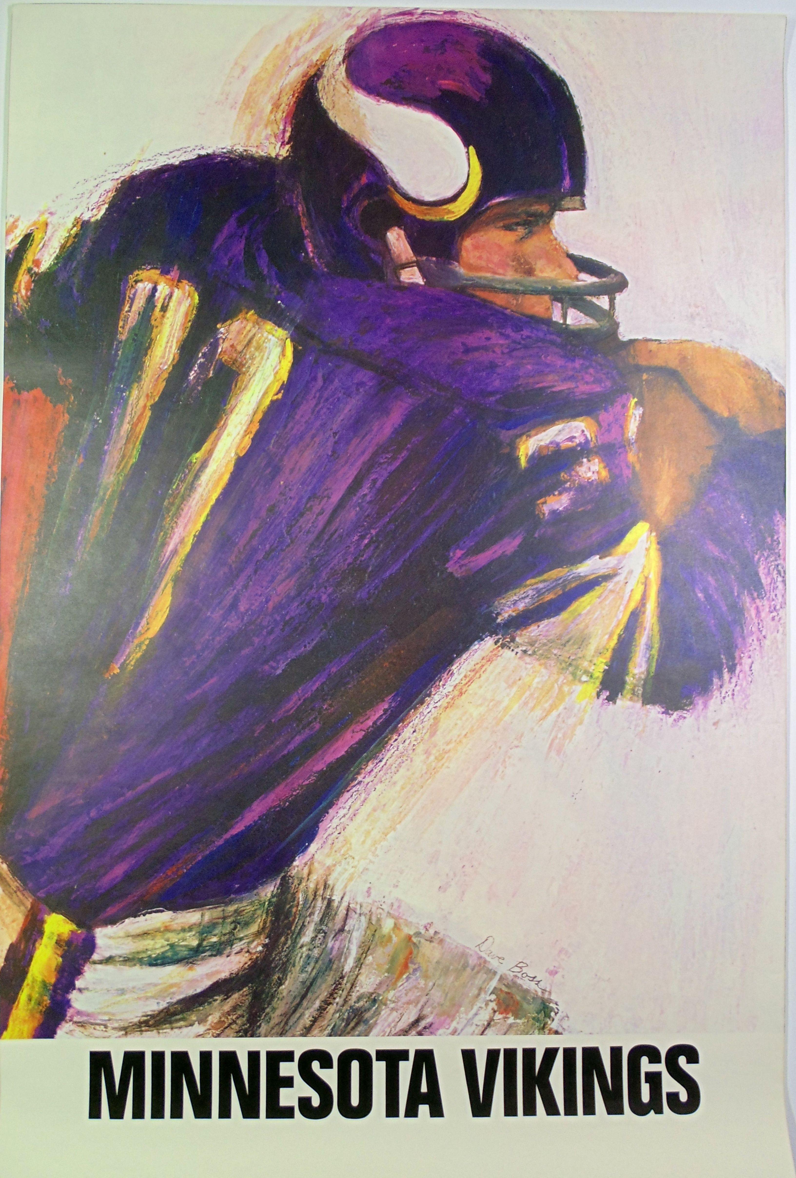 ac0dbc913 Vintage original NFL Minnesota Vikings 1966 art poster by Dave Boss ...